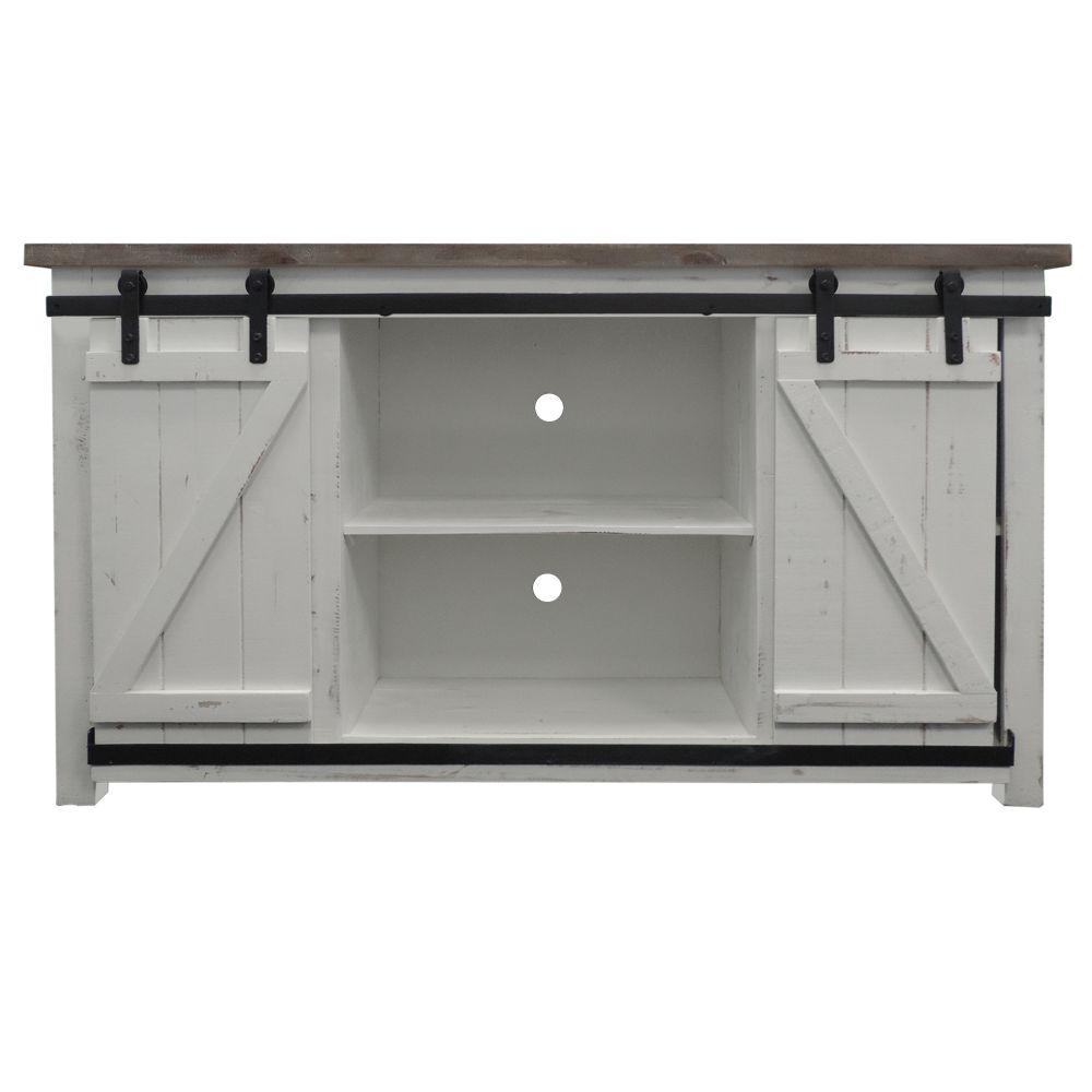 Brown and White 69 in. W Wooden Media Console with Barn Style Sliding Door Fits 60 in. TV