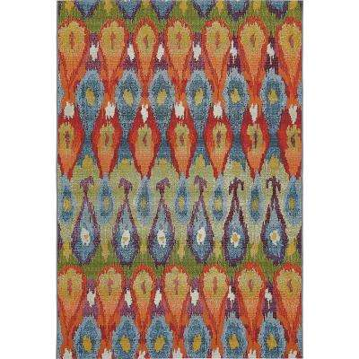"Outdoor Modern Multi 5'3"" x 8' Rug"