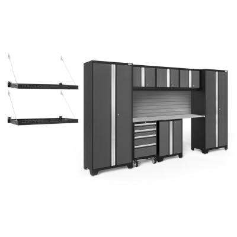 Bold Series 3.0 77.25 in. H x 132 in. W x 24 in. D 24-Gauge Steel Cabinet Set in Gray (8-Piece)