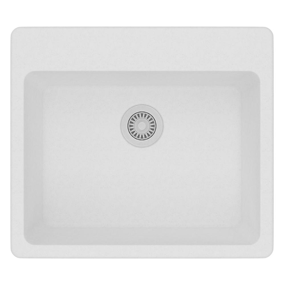 White Single Bowl Drop In Kitchen Sink Part - 45: Elkay Quartz Classic Drop-In Composite 25 In. Single Bowl Kitchen Sink In  White-ELG2522WH0 - The Home Depot