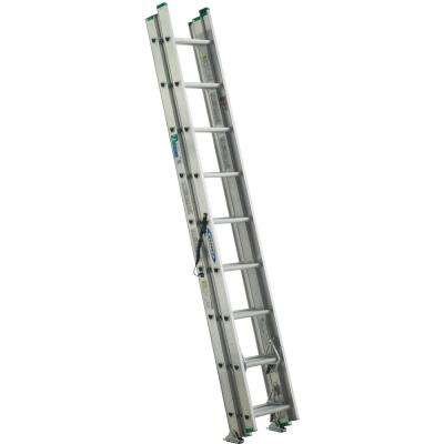 24 ft. Aluminum 3 Section Compact Extension Ladder with 225 lbs. Load Capacity Type II Duty Rating