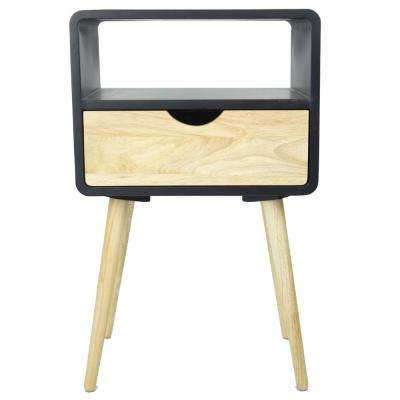 Shelly 26 in. Black Wood End Table