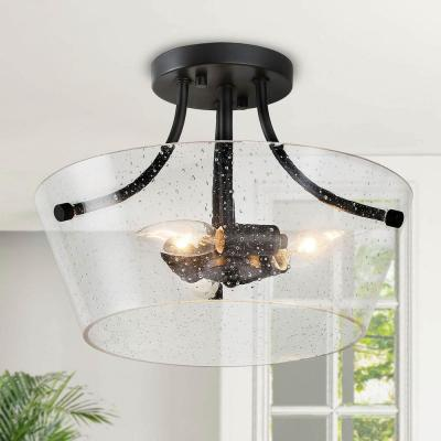 Choni 13 in. 3-Light Black Heirloom Bronze Semi Flush Mount Ceiling Light with Clear Seeded Glass Shade