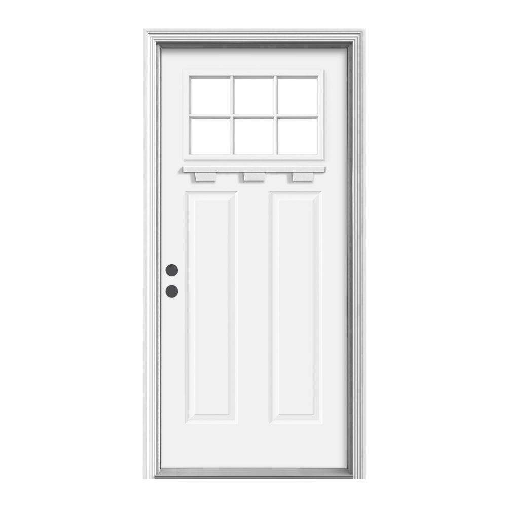 Jeld wen 36 in x 80 in craftsman white painted right for Jeld wen exterior doors
