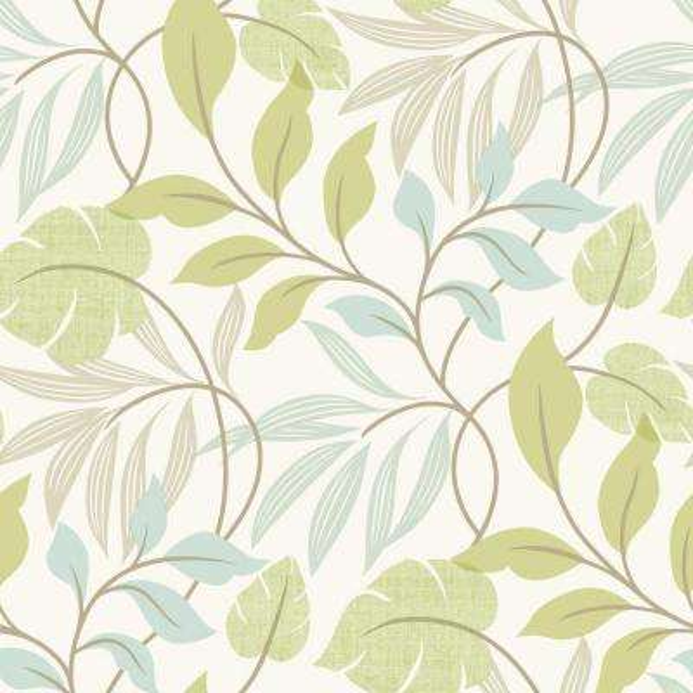 Eden Green Modern Leaf Trail Wallpaper Sample