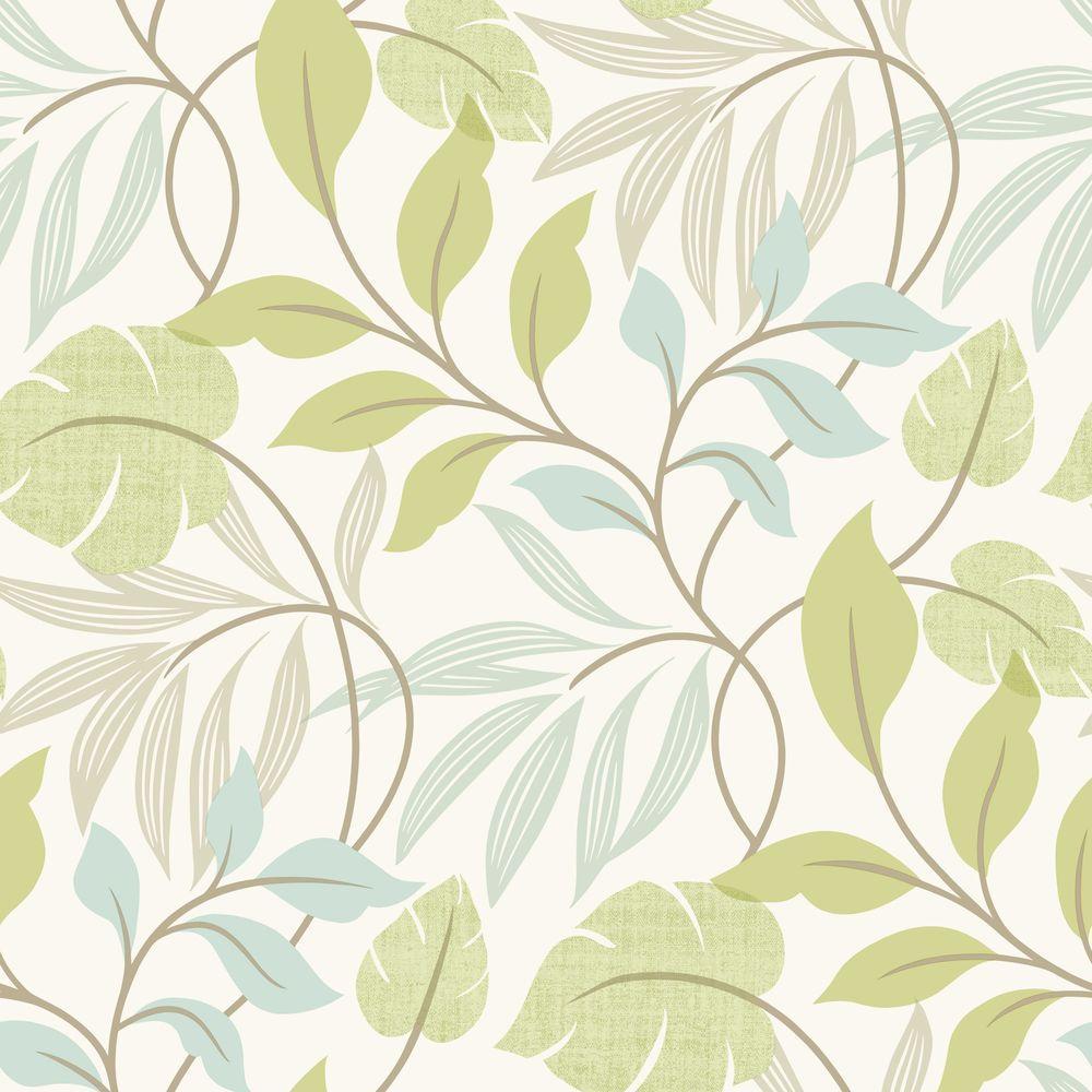 Beacon House Eden Green Modern Leaf Trail Wallpaper Sample 2535-20627SAM