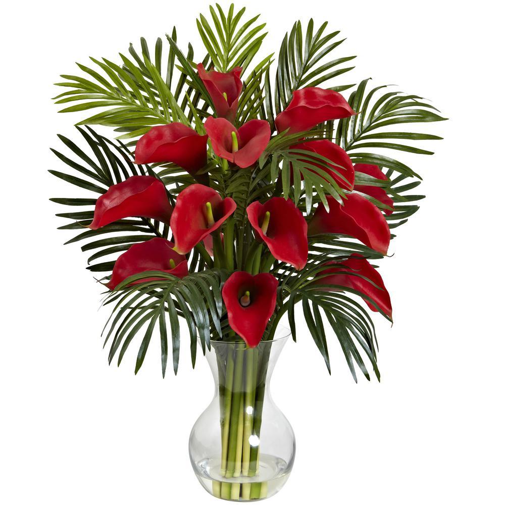 Indoor Calla Lily and Areca Palm Silk Flower Arrangement