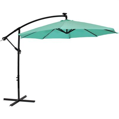 9.5 ft. Offset Cantilever Patio Umbrella in Seafoam with Solar LED Lights