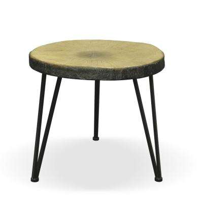 Tyrell Oak Finish Lightweight Concrete Side Table with Black Steel Frame