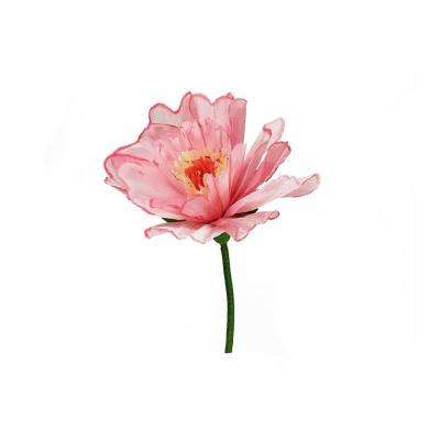 24 in. Pink and Green Decorative Spring Floral Artificial Craft Stem