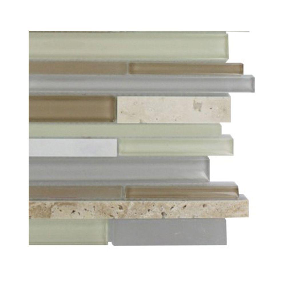 Splashback Tile Cleveland Bainbridge Random Brick 3 in. x 6 in. x 8 mm Mixed Materials Mosaic Floor and Wall Tile Sample