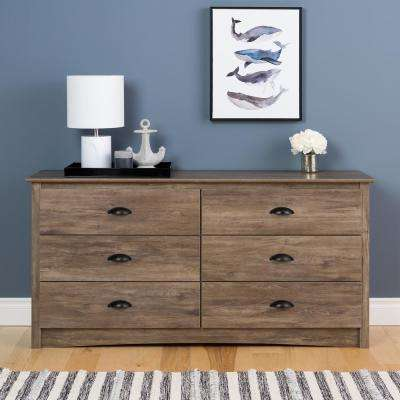 Salt Spring 6-Drawer Drifted Gray Dresser