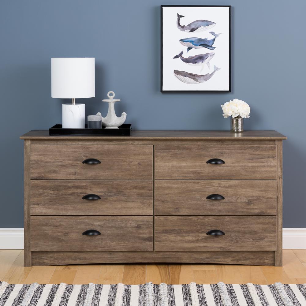 Prepac Salt Spring 6-Drawer Drifted Gray Dresser