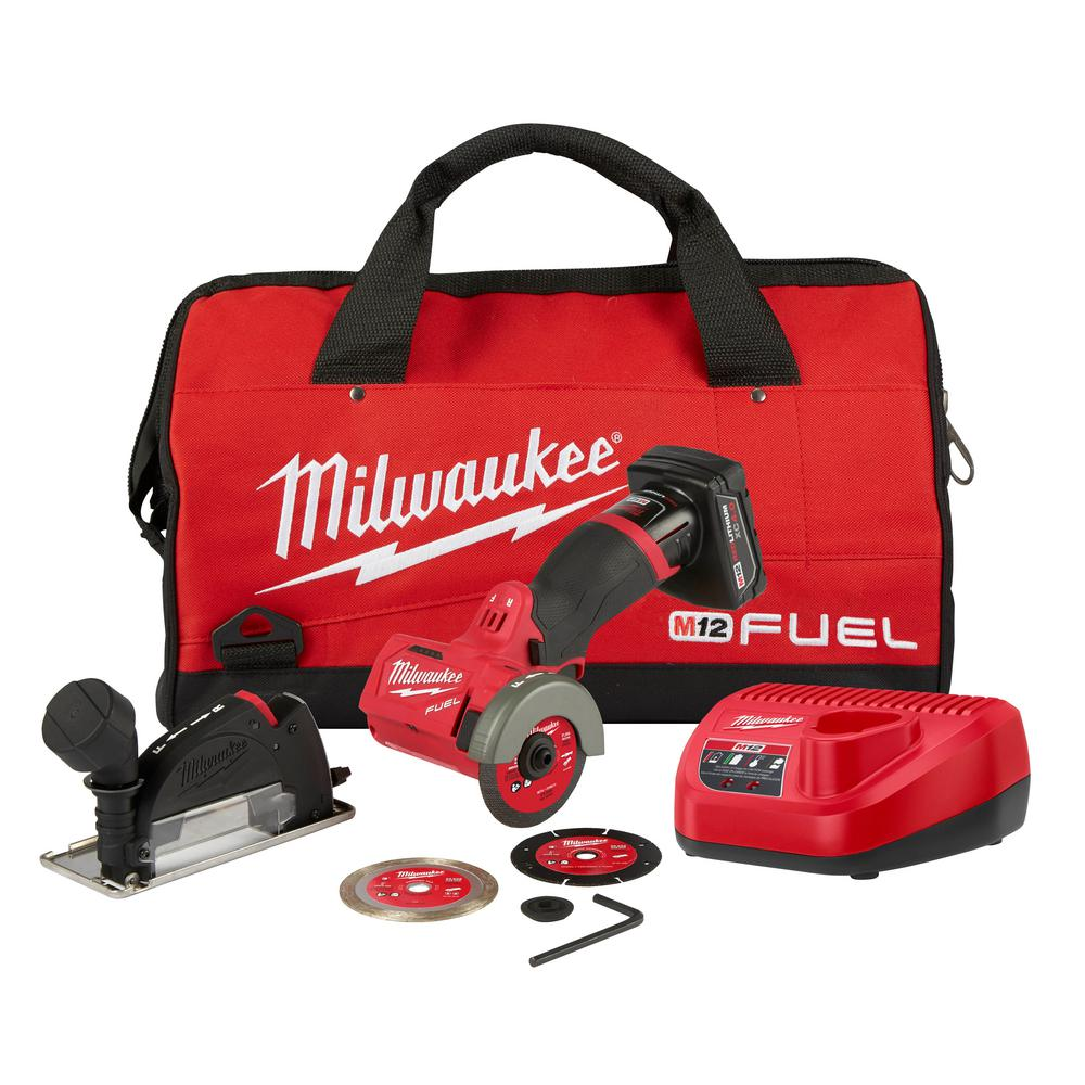 Milwaukee M12 FUEL 12-Volt Lithium-Ion Brushless Cordless 3 in. Cut Off Saw Kit W/ (1) 4.0Ah Battery, Charger and Bag