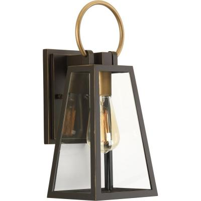 Barnett Collection 1-Light Antique Bronze 15.1 in. Outdoor Wall Lantern Sconce