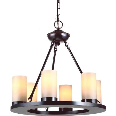 Ellington 21 in. W 6-Light Burnt Sienna Bronze Rustic Wagon Wheel Chandelier with Faux Pillar Candles