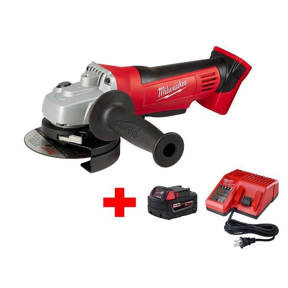 Milwaukee M18 18-Volt Lithium-Ion Cordless 4-1/2 in. Cut-Off/Grinder W/ M18 Starter Kit W/ (1) 5.0Ah Battery and Charger