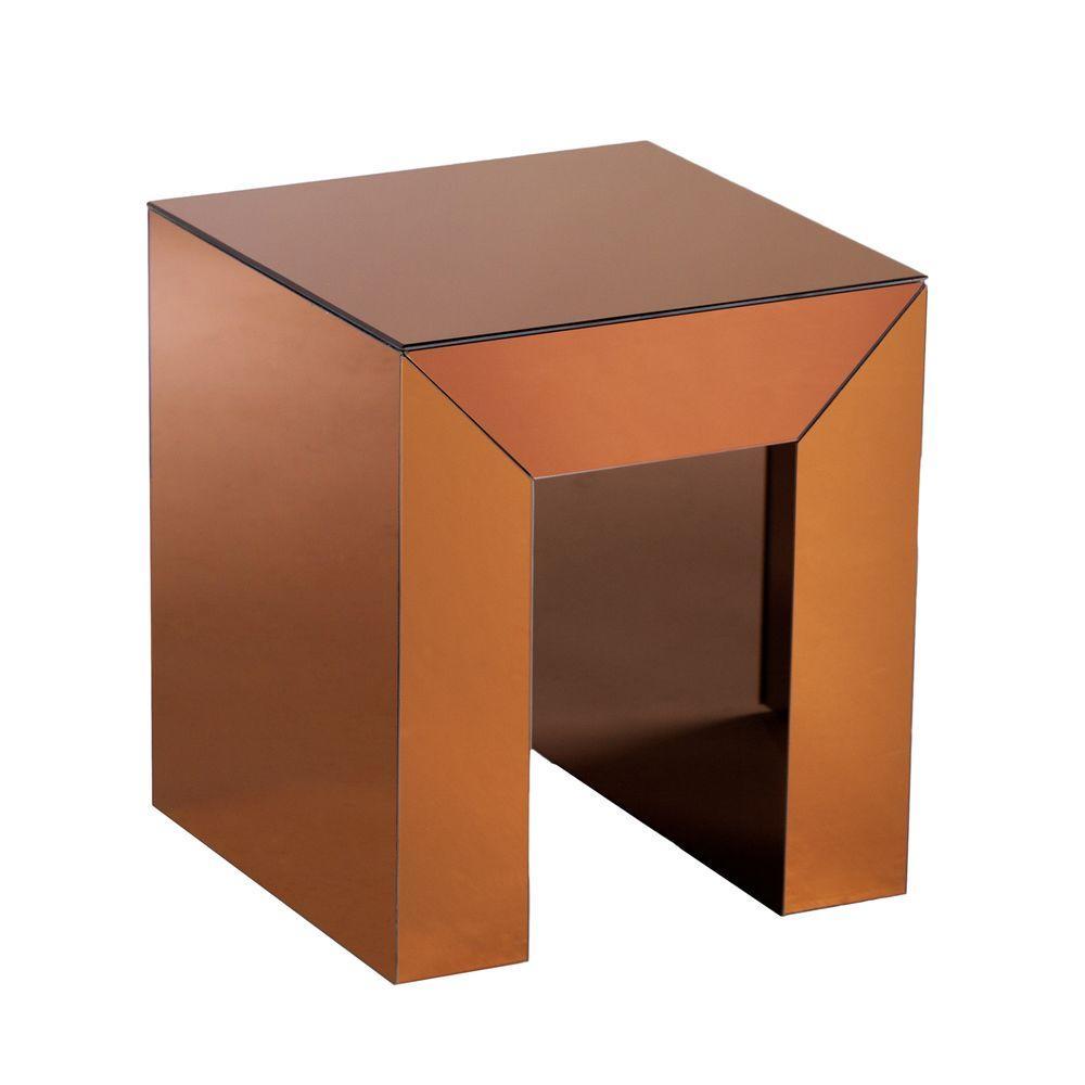 Southern Enterprises Ada Bronze Mirrored End Table, Bronz...