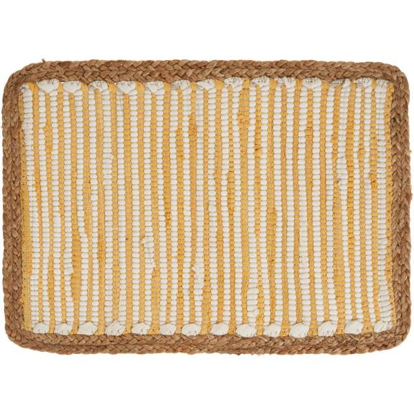 Sunny Day 13 in. x 19 in. White / Yellow Striped Jute Border Cotton Placemat (Set of 4)