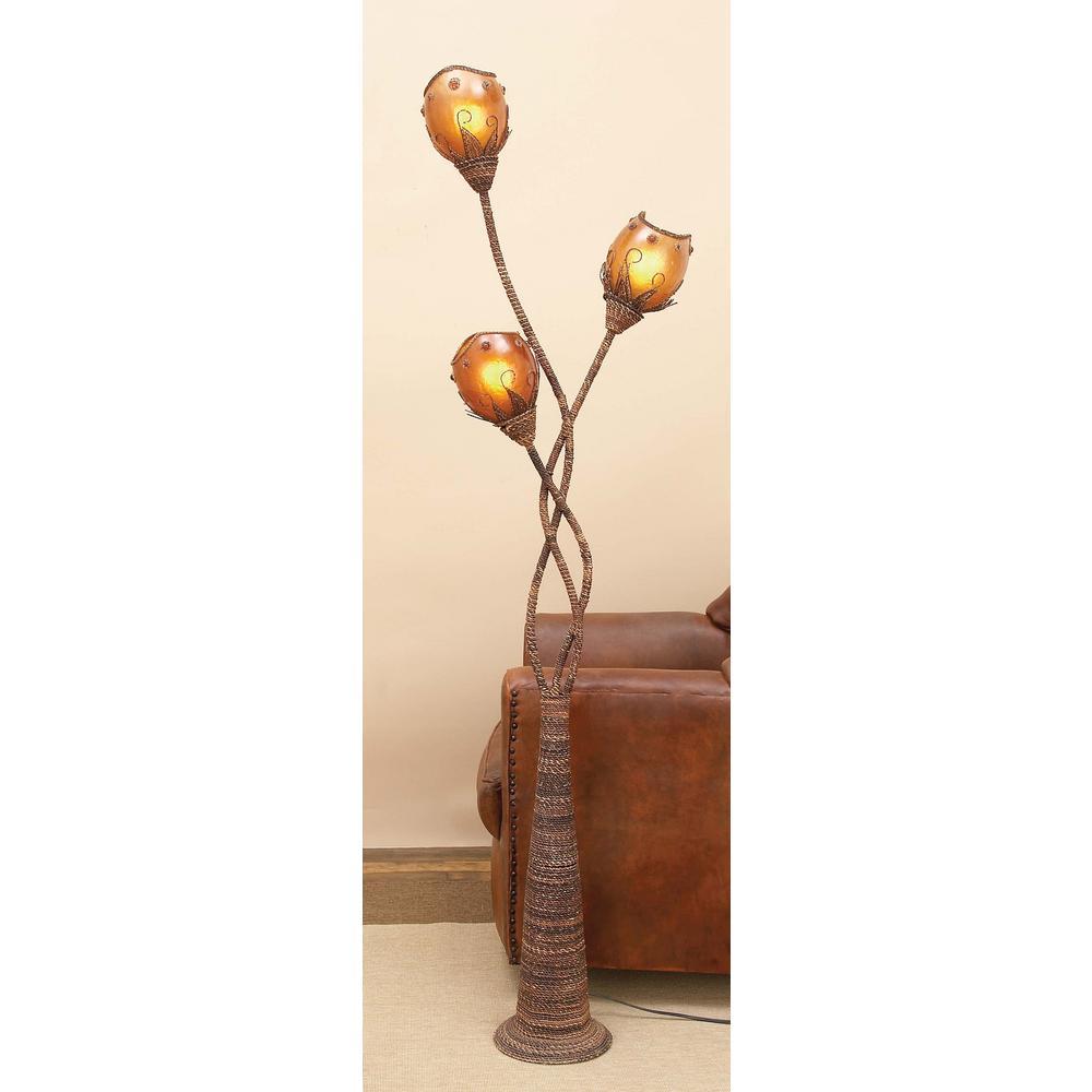 70 in. Global-Inspired Abaca and Metal Floor Lamp