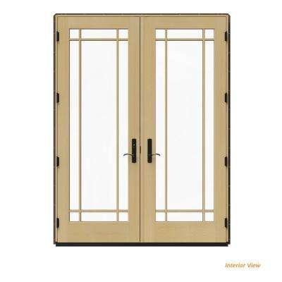 72 in. x 96 in. W-4500 Brown Clad Wood Right-Hand 9 Lite French Patio Door w/Unfinished Interior