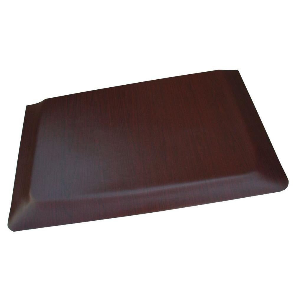 Double Sponge Walnut Wood Grain Surface 24 in. x 36 in. Vinyl Kitchen Mat