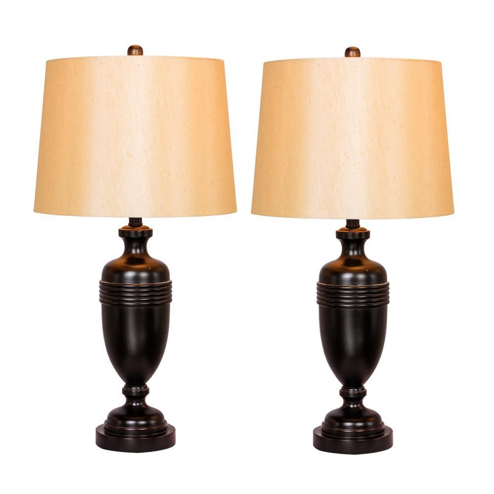29.25 in. Bronze Metal Decorative Urn Table Lamps