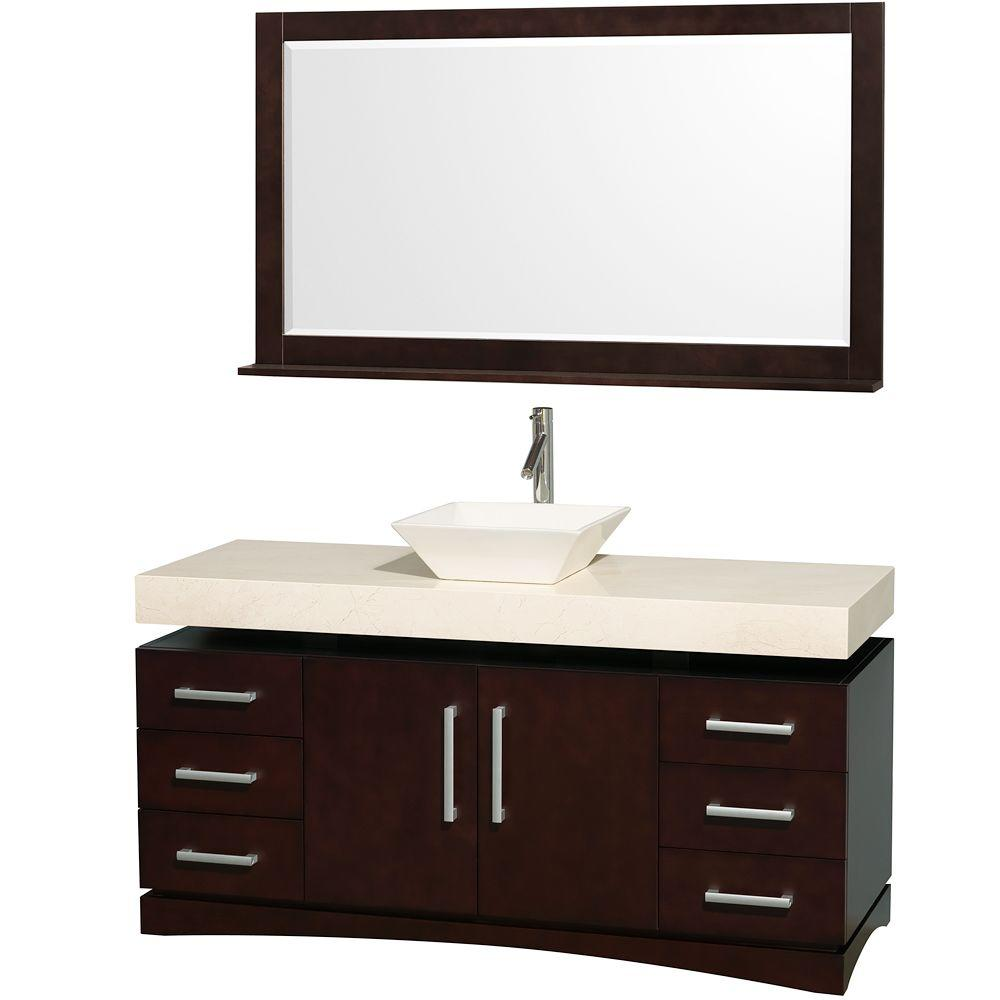 Wyndham Collection Monterey 60 in. Vanity in Espresso with Marble Vanity Top in Ivory and Bone Porcelain Sink-DISCONTINUED