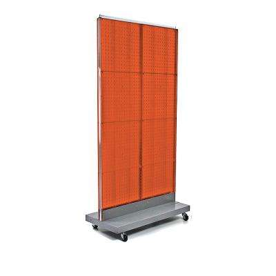 60 in. H x 32 in. W 2-Sided Double Pegboard Floor Display On Wheeled Base in Orange