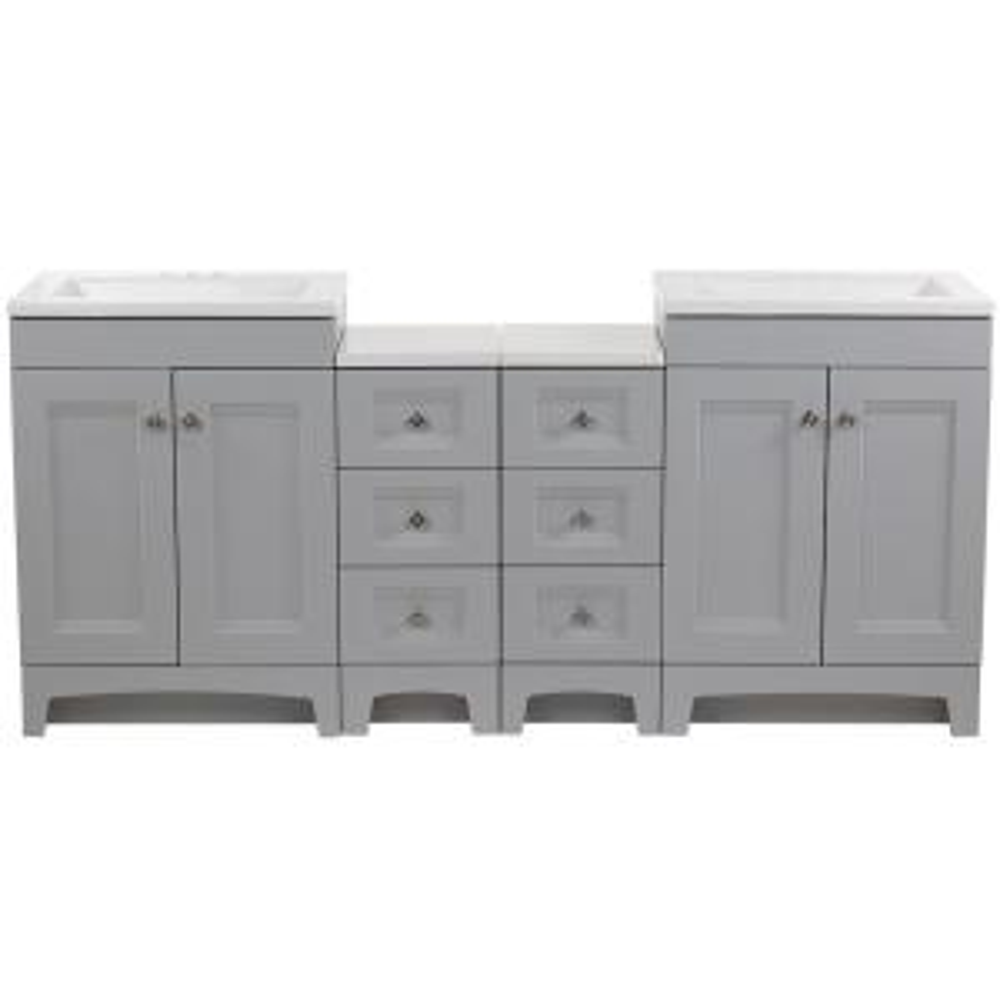 Delridge Bath Suite with Two 30 in. Vanities, Vanity Tops, and Drawer Base in Pearl Gray