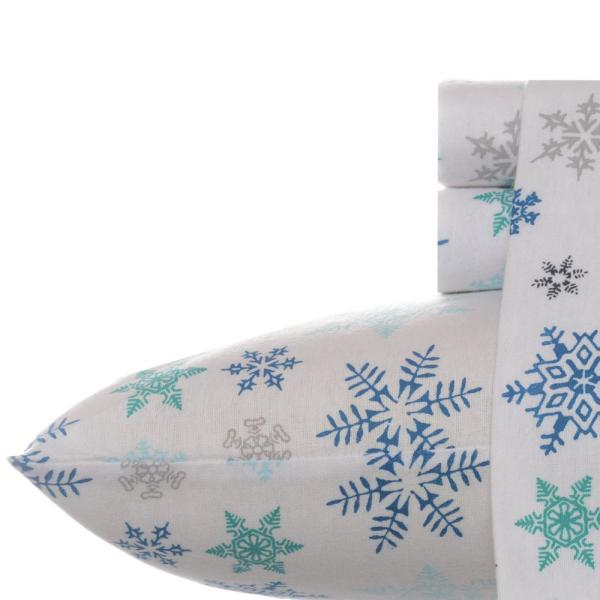4-Piece Tossed Snowflake Blue Graphic Flannel King Sheet Set