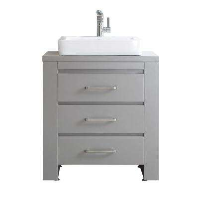 Pascara 30 in. W x 21 in. D Vanity in Grey with White Basin