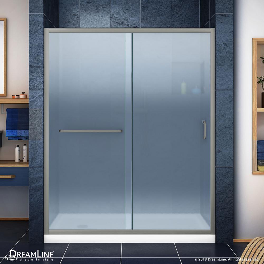 Infinity-Z 30 in. x 60 in. Semi-Frameless Sliding Shower Door in Brushed Nickel with Left Drain White Base