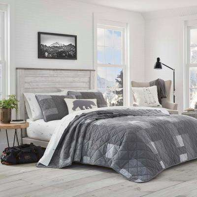 3-Piece Charcoal Swiftwater Cotton King Quilt Set