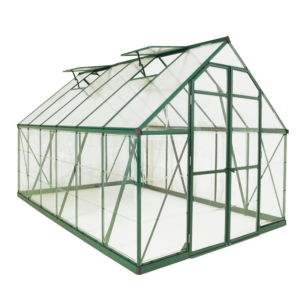palram balance 8 ft x 12 ft green polycarbonate greenhouse 703489