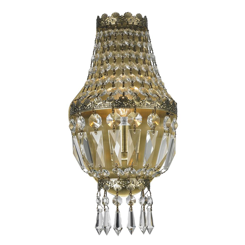 Worldwide Lighting Metropolitan Collection 1-Light Antique Bronze Sconce with Clear Crystal