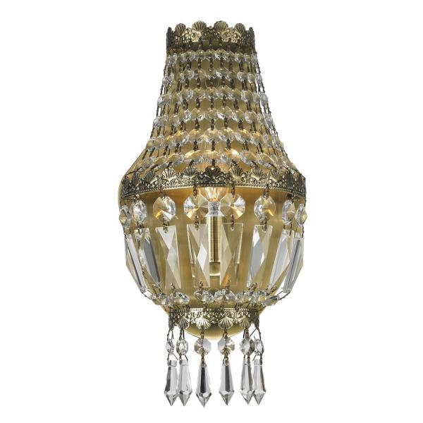 Metropolitan Collection 1-Light Antique Bronze Sconce with Clear Crystal