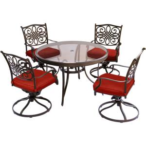 Hanover Traditions 5-Piece Aluminum Outdoor Dining Set with Swivel Chairs with Red Cushions and Glass-Top... by Hanover