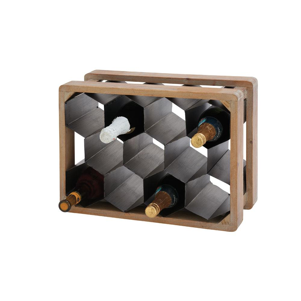 11-Bottle Black Honeycomb Iron Wine Holder with Brown Wooden Frame