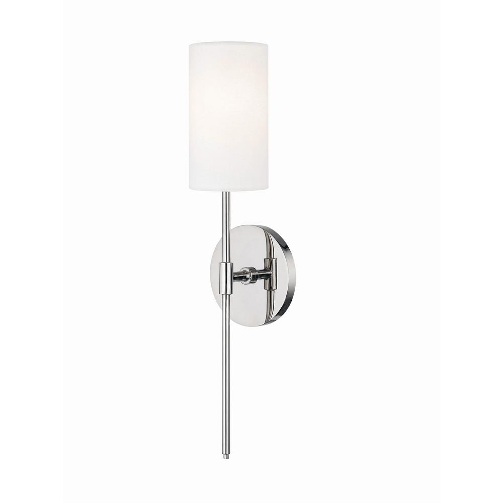 Mitzi by Hudson Valley Lighting Olivia 1-Light Polished Nickel Wall Sconce with White Linen  sc 1 st  Home Depot & Mitzi by Hudson Valley Lighting Olivia 1-Light Polished Nickel Wall ...