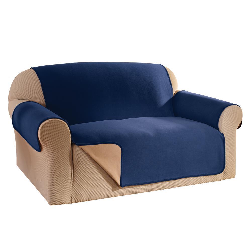 Navy Reversible Waterproof Fleece Sofa Furniture Protector