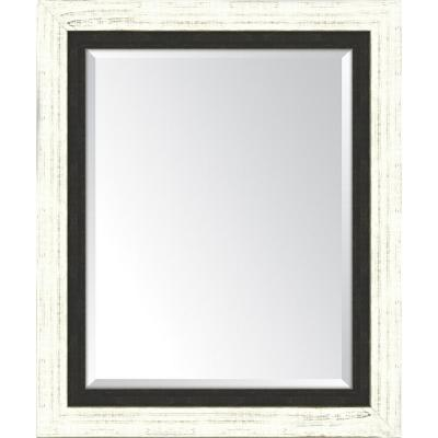 30 in. x 36 in. Framed French White Large and Slate Black Mirror