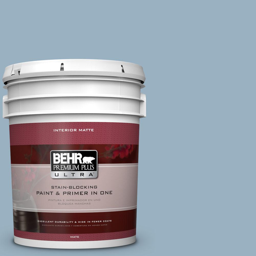 5 gal. #ECC-32-1 Cloudless Day Matte Interior Paint and Primer in