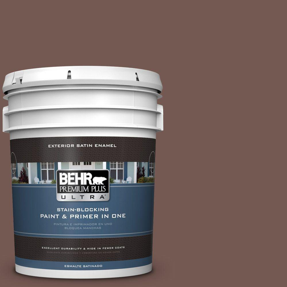 BEHR Premium Plus Ultra 5-gal. #220F-7 Yorkshire Brown Satin Enamel Exterior Paint