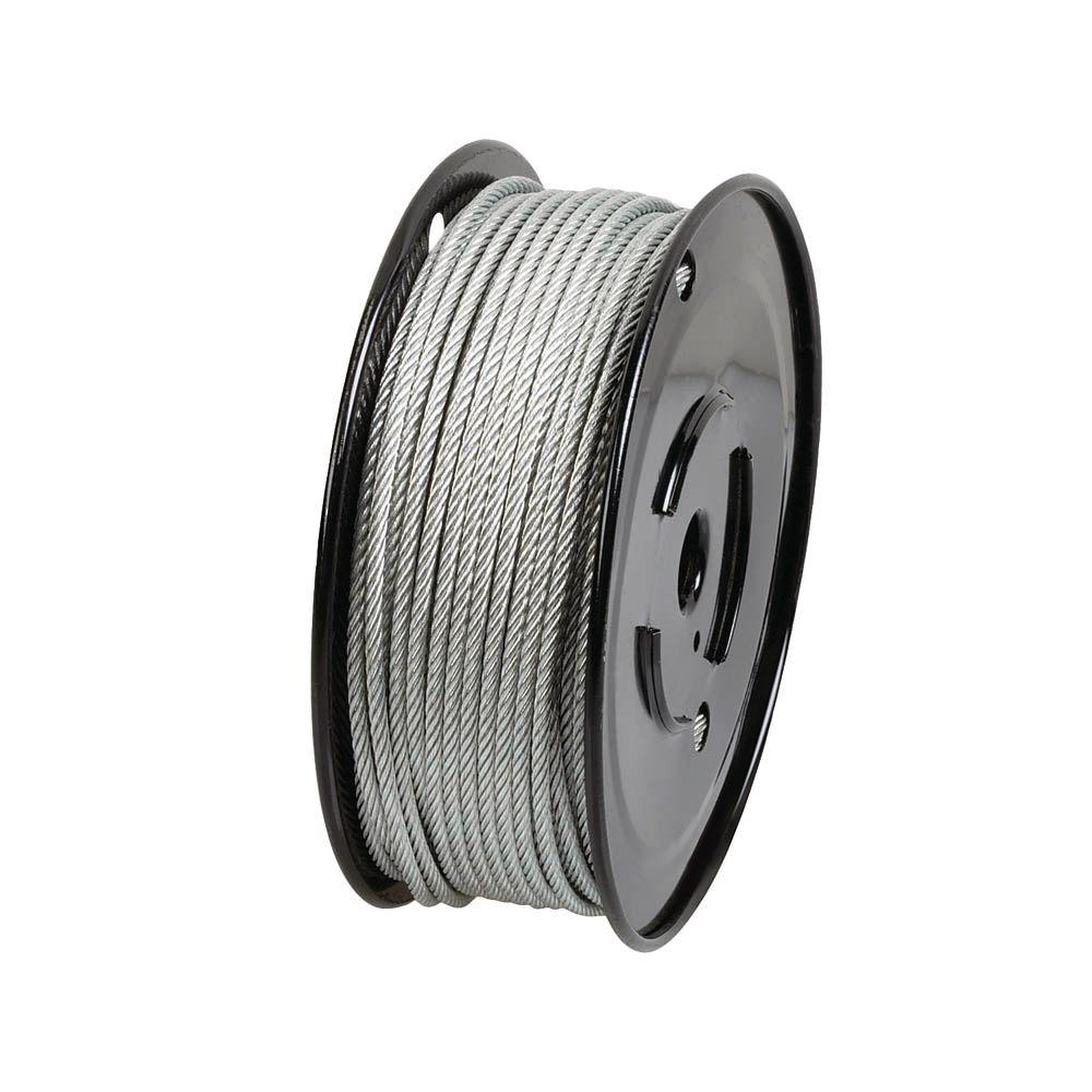 Everbilt 3/32 in. x 500 ft. Galvanized Steel Uncoated Wire Rope ...