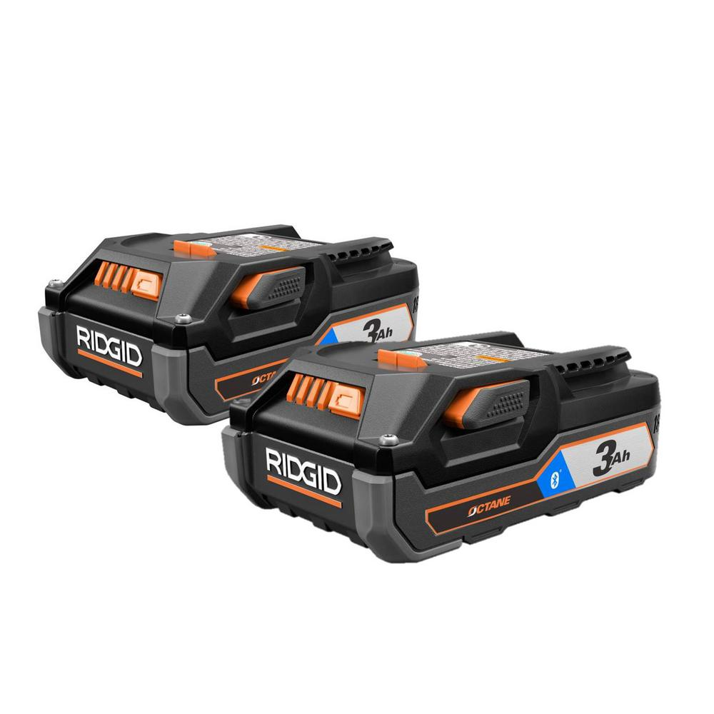 RIDGID 18-Volt OCTANE Bluetooth 3.0 Ah Battery 2-Pack