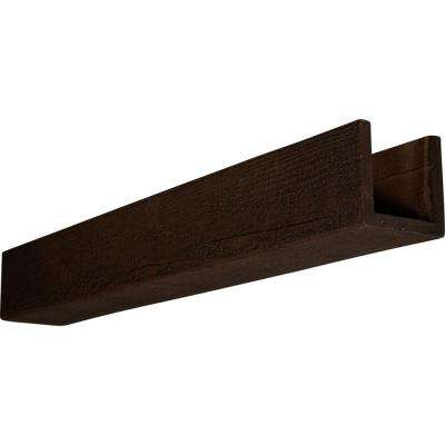 4 in. x 8 in. x 24 ft. 3-Sided (U-Beam) Rough Sawn Espresso Finish Faux Wood Beam
