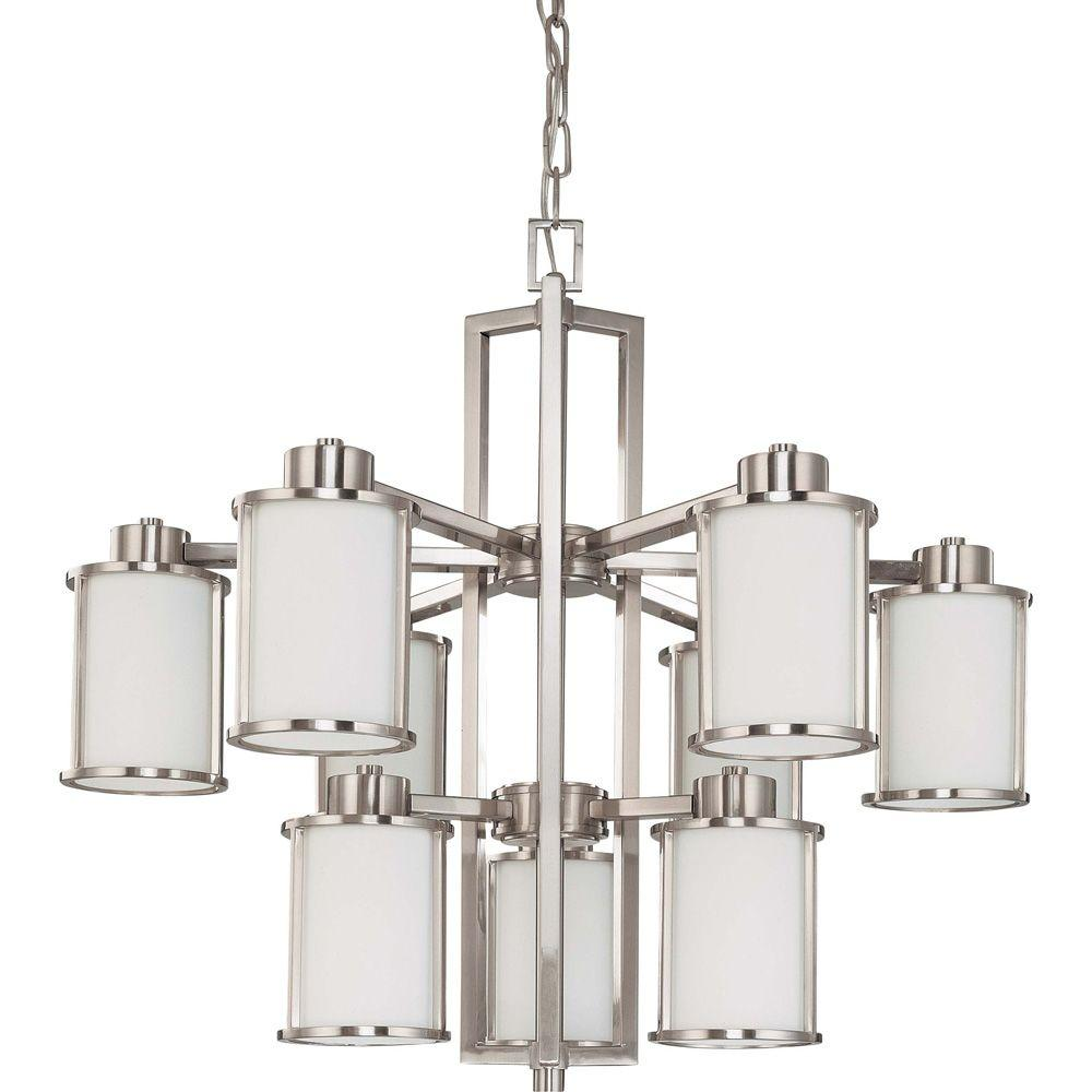Glomar 9-Light Brushed Nickel Chandelier with Satin White Glass Shade