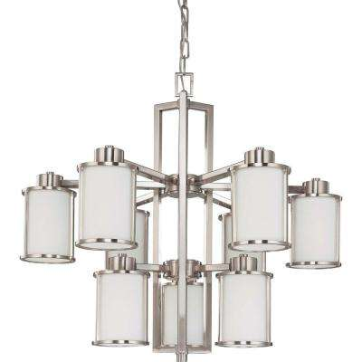 9-Light Brushed Nickel Chandelier with Satin White Glass Shade