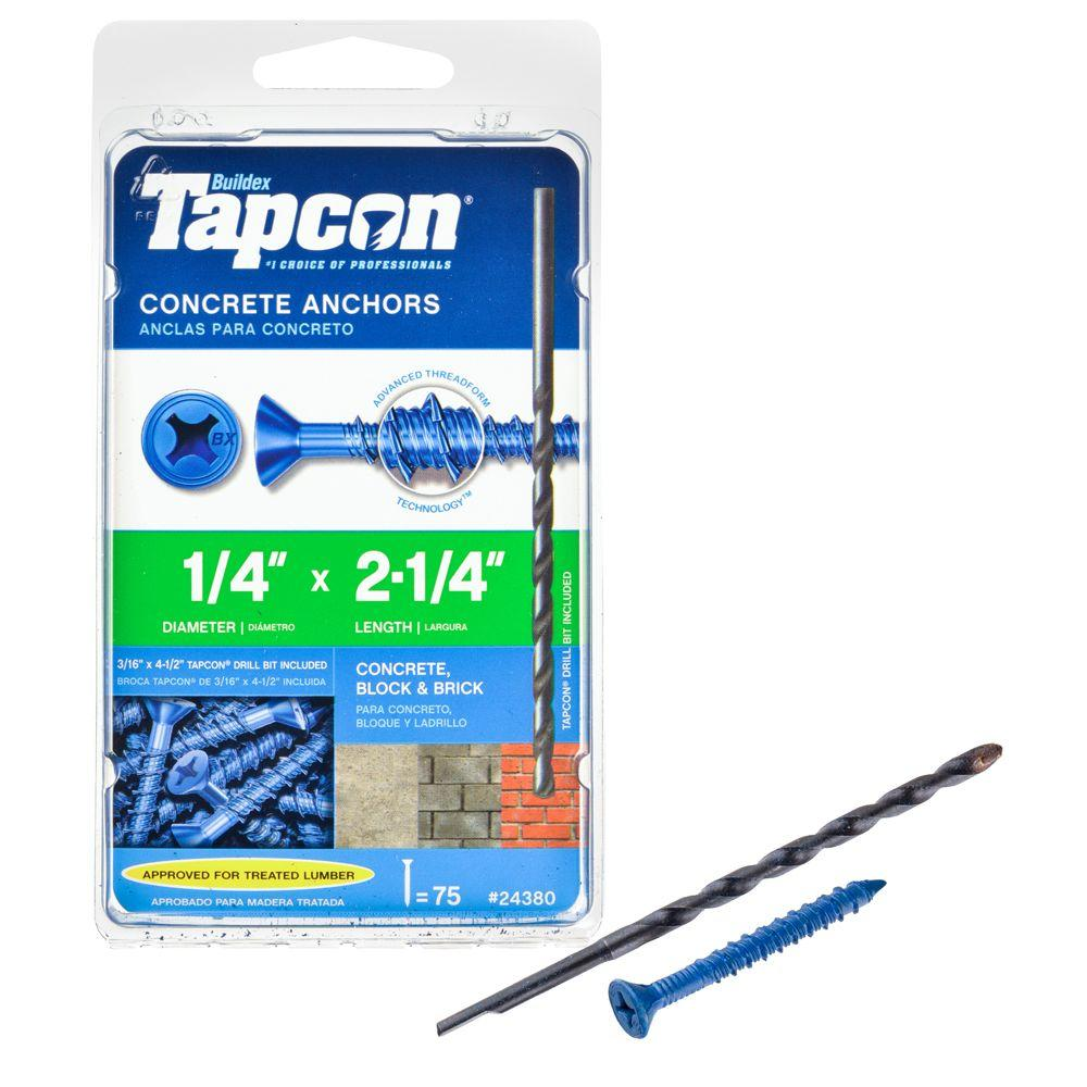 Block or Brick 100 per Box CONFAST 1//4 x 1-3//4 Flat Phillips Concrete Screw Anchor with Drill Bit for Anchoring to Masonry